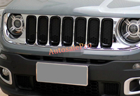 Chrome Front Grille Centre Grill Assembly frames Trims for Jeep Renegade 2015 2016