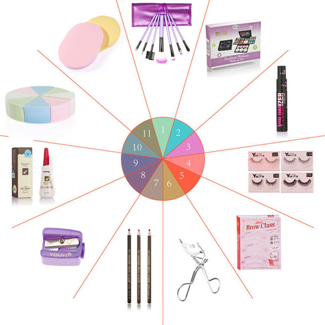 Hot Empty Portable Makeup Kits Gift Set Eyeshadow Foundation Blusher Powder Brushes Cosmetic Tool