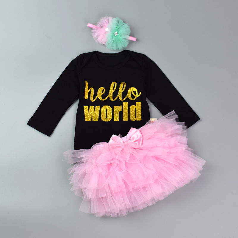 Newborn Infant Jumpsuit Set Baby Girl 3Pcs Organic Cotton Bodysuit Set Letter Print Romper Layered Tutu