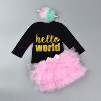 Newborn Infant Jumpsuit Set Baby Girl 3Pcs Organic Cotton Bodysuit Set Letter Print Romper Layered Tutu