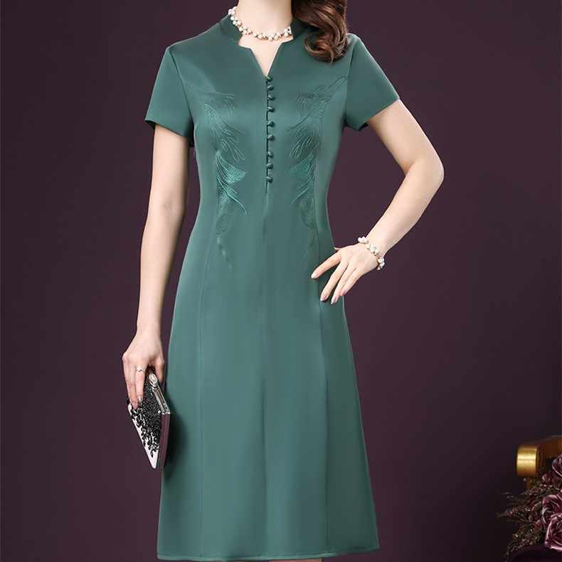 2019 Summer Dresses New Fashion Elegant Robe Vintage Embroidery Silk Dresses Luxury Office Wear Knee-Length Solid Dress HJ124