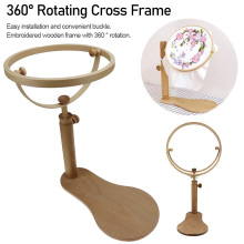 Hot  Embroidery Cross Stitch Hoop Set Adjustable Stand Wood Ring Frame Sewing Tools