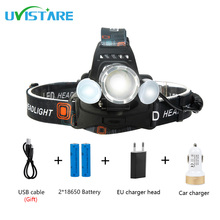 Uvistare T2 8000 LM Newest Andrews interface led*2+T6 Lampwick Headlamp Headlight 4 Modes Waterproof Head Light for Camping