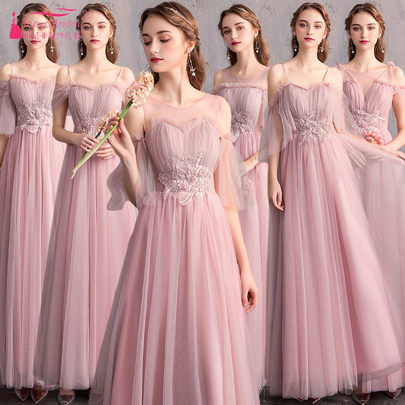 Pearl Pink Long Bridesmaid Dresses Simple Tulle Wedding