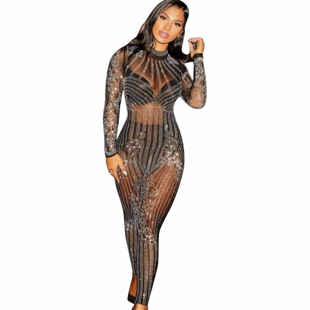 2019 Glitter Women Sexy Mesh See Through Rhinestone Skinny Jumpsuit Sequins  Bodysuit Vintage Christmas Party Jumpsuits 996a242c30d1