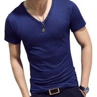 Elastic V Neck Men T Shirt Mens Fashion Short Sleeve Tshirt Fitness Casual Male T shirt Nice Brand Clothing Tee Tops 7XL 8J1128