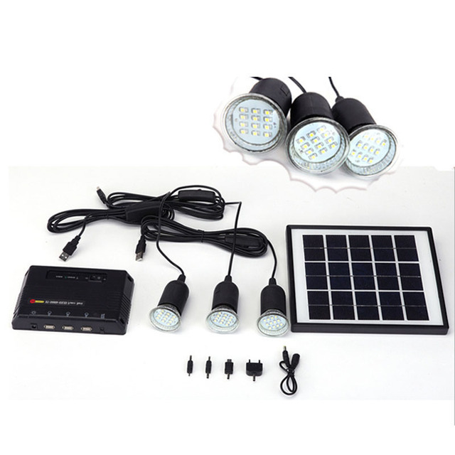 4w Solar Panel Lighting Home System Kit Usb Charger With 3