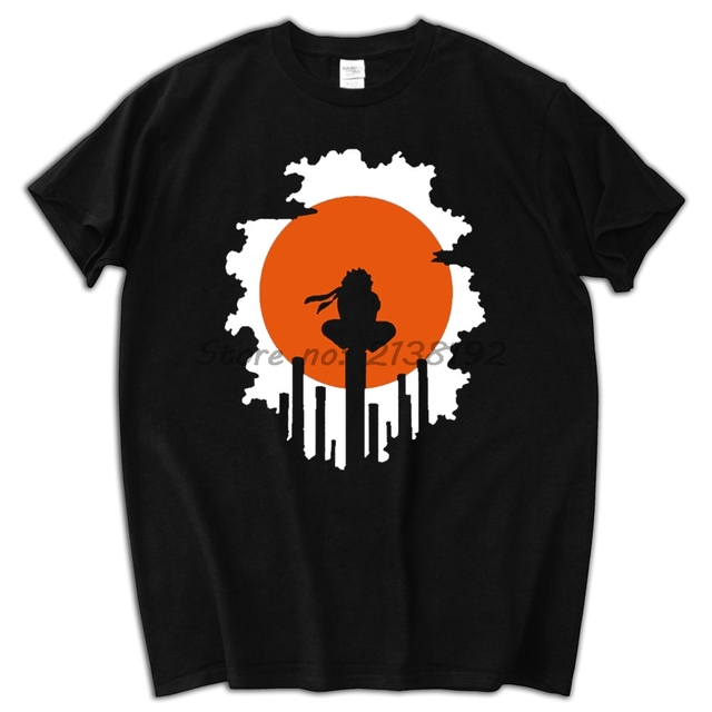 Naruto Shippuden Red Sun Anime striped men t-shirt 100% cotton