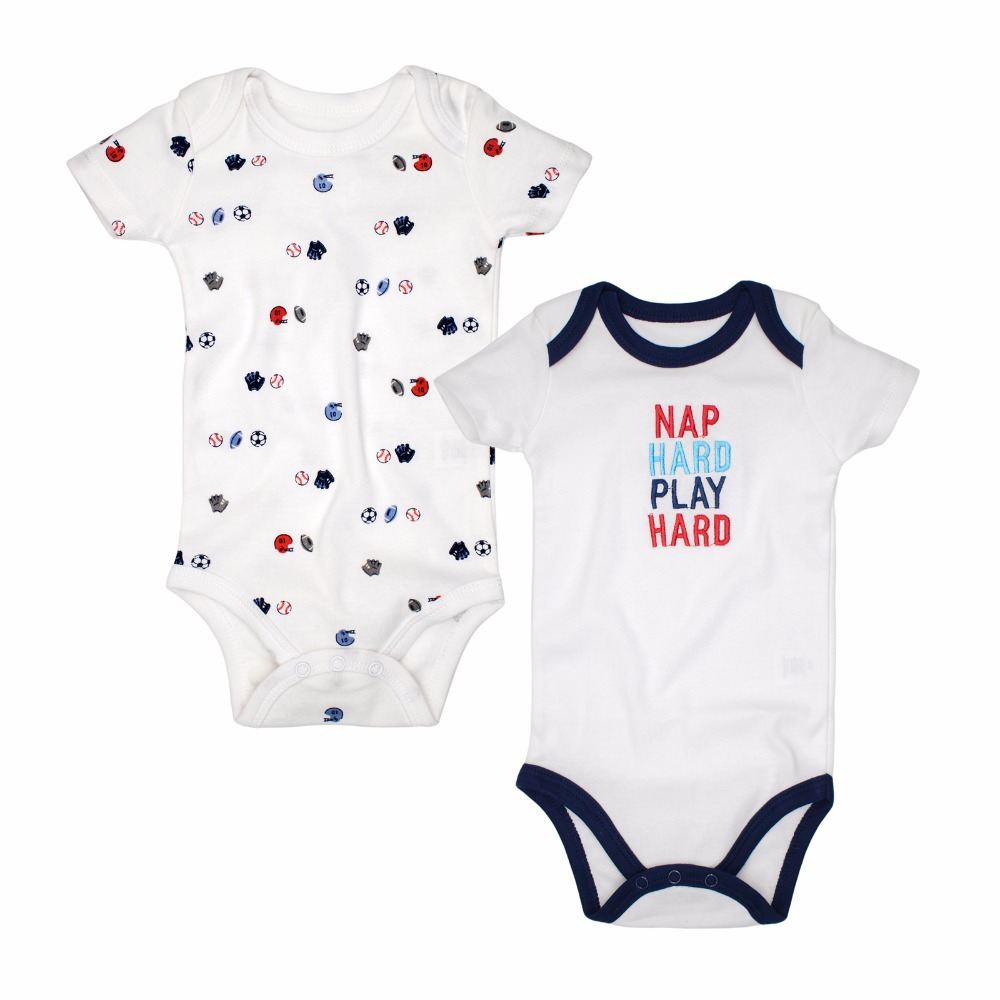 2pieces/lot Spring-Summer Baby Rompers Newborn baby boy Clothes 100% Cotton Short Sleeved Kids Jumpsuit Baby Outfits Clothes Set