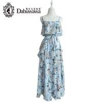 Dabuwawa Original Light Blue Off Shoulder Long Beach Dress Bohemian Dress Flora Printed Dress