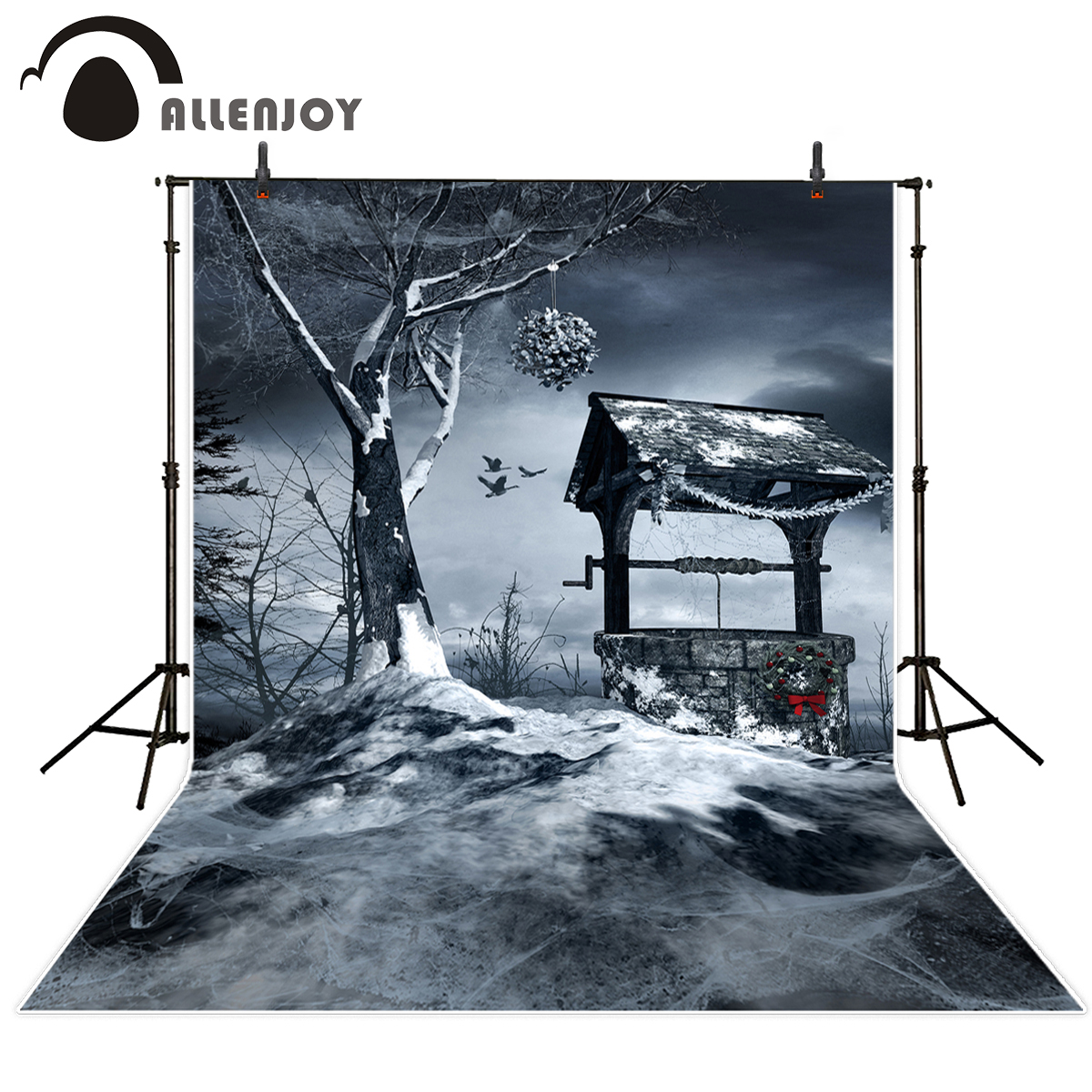 Allenjoy photography background horrible well Dead tree snow Halloween theme backdrop professional photo background studio dr horrible and other horrible stories