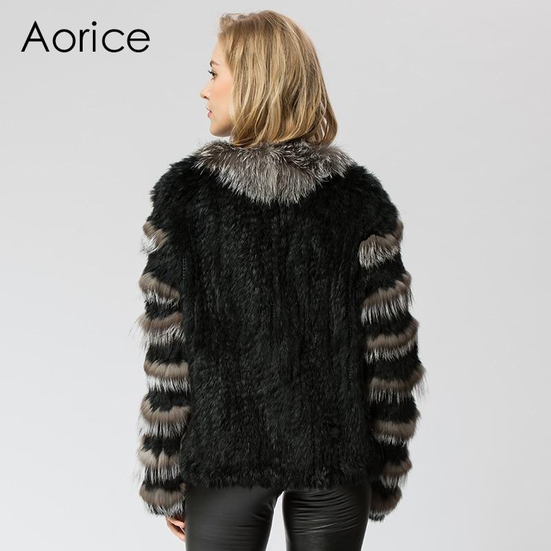 CR048 вязать трикотажные Настоящее кролика и silver fox меховой куртки пальто шинель женская мода зима теплая натурального меха пальто ourwear