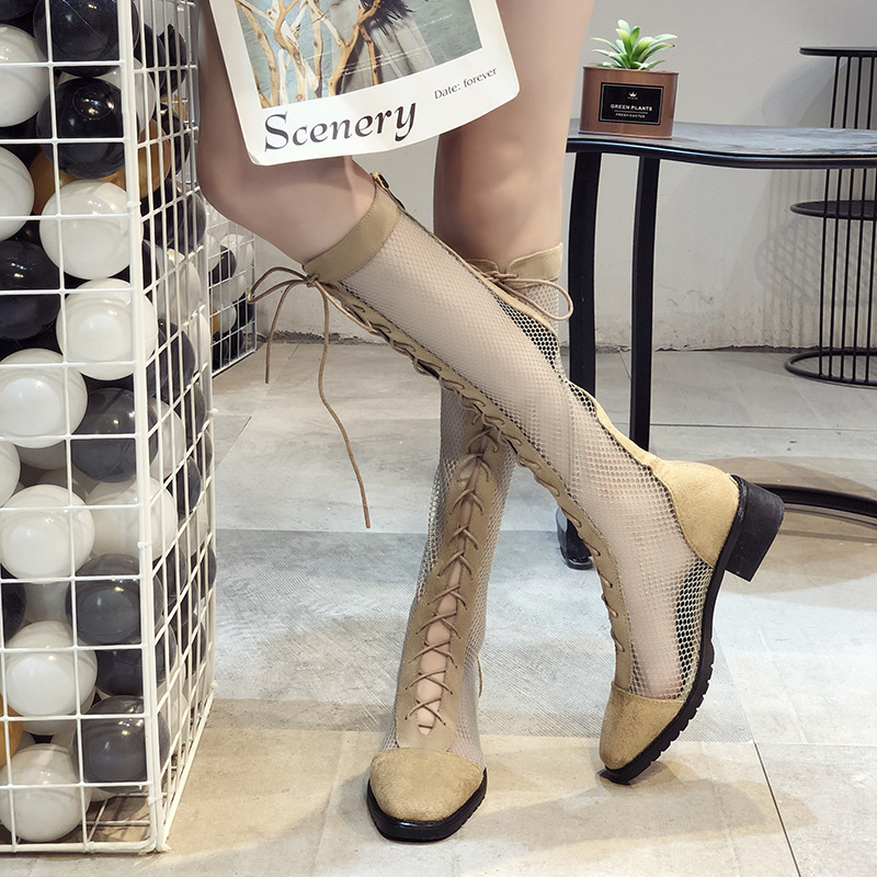 2019 New Mesh Lace Boots Mesh Hollow Boots High Boots High Boots Middle Heels Thick Heels