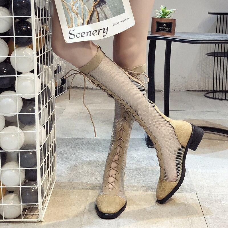 2019 Nieuwe Mesh Kant Laarzen Mesh Holle Laarzen Hoge Laarzen Hoge Laarzen Midden Hakken Dikke Hakken Fashion Sandalen Maat 35  39-in Slippers van Schoenen op  Groep 1