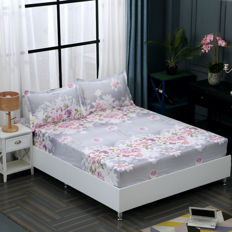 Solid Color Floral Printed Polyester Bedroom Mattress Cover Fitted Sheet Bed Protector Pad Bedsheet Couvre lit for Bed Room