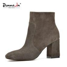Donna-in ovelhas camurça tornozelo botas de moda dedo do pé quadrado das mulheres do salto grosso botas de salto alto genuína botas de couro de senhora