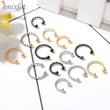 2 Pieces Gold Silver Black Surgical Steel Titanium Fake Nose Ring Fake septum rings Piercing Body Jewelry Twisted Nose Hoop(China)