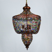 HAIXIANG Vintage Bohemian Colorful Crystal Beads Pendant Lamp Vintage Ceiling Lamps Chandelier Lighting for Dining Room