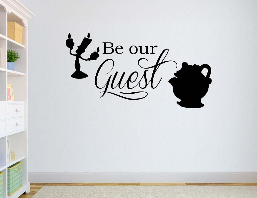 Cartoon Quotes Be Our Guest Wall Decal Beauty And The Beast Wall Stickers For Kids Rooms Playing Room Baby Gift Vinyl DIY SYY972