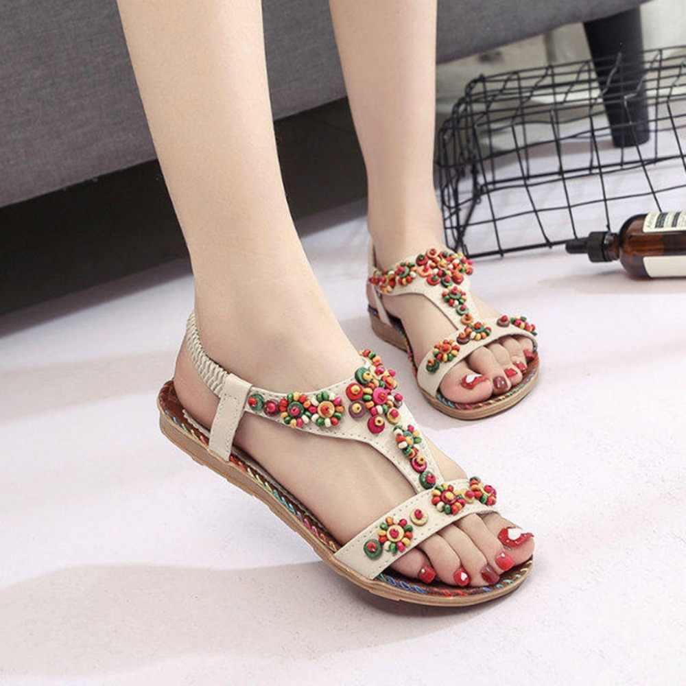 自由奔放に生きる夏文字列ビーズサンダルの女性のフリップサンダルデザイナー剣闘士ビーチフラットサンダル靴 Zapatos Mujer #40