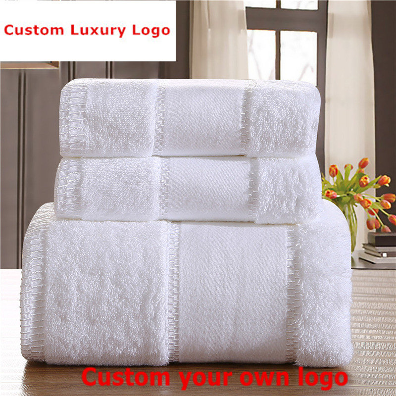Custom Luxury Logo Towel Set 100% Egyptian Cotton 3PCS Set