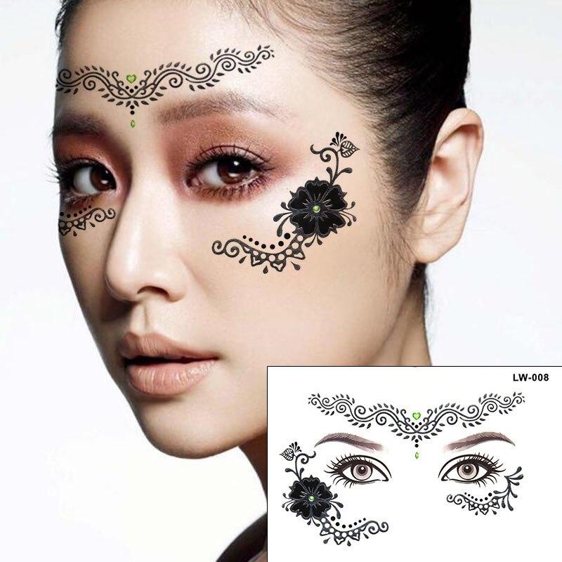 Henna Face Tattoo: 2pcs/lot Halloween Silver Henna Tattoo Eye Sticker Flower