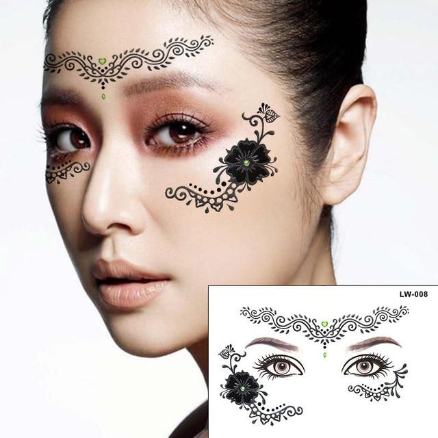 Henna Eye Tattoo: 2pcs/lot Halloween Silver Henna Tattoo Eye Sticker Flower