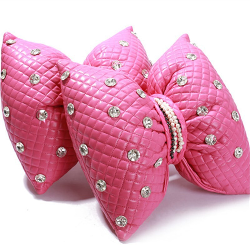ALLGT Big Bow Tie Car Interior Styling Pink Car Headrest Support Bowknot Neck Pillow for Women Girl Great Gift