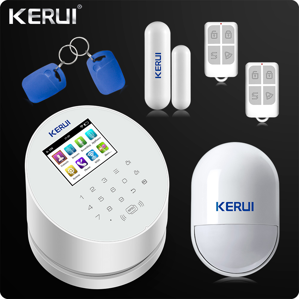 2019 KERUI W2 WiFi GSM PSTN RFID Home Alarm Security System TFT Color LCD Display ISO Android App Remote Control WiFi Alarm RFID