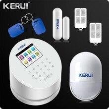 2019 متخصصة KERUI W2 WiFi GSM PSTN RFID المنزل نظام إنذار أمني TFT لون شاشة الكريستال السائل ISO الروبوت App التحكم عن بعد WiFi إنذار RFID