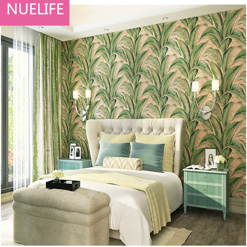 0.53x10 Meter TV background wallpaper Southeast Asian style banana leaf pattern 3D bedroom living room non-woven wallpaper