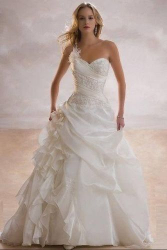hot vestido de noiva free shipping new a line one shoulder robe de mariage floor length - Aliexpress Mariage