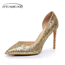 Women high heels shoes sexy nightclub shallow thin heel 10.5cm 8.5cm women's glitter leather pumps silver gold wedding shoes(China)