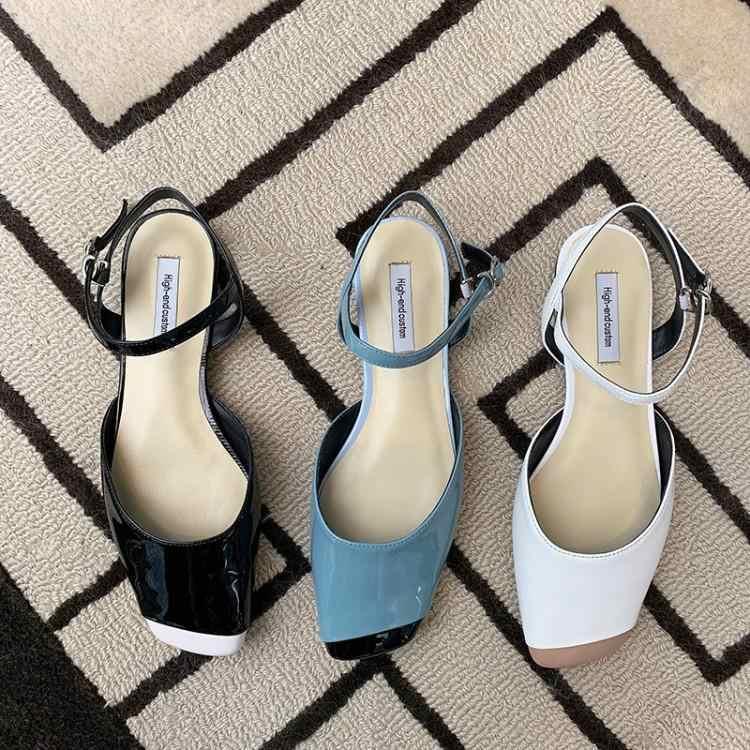 Brand Nieuwe Gemengde Kleur Platte Schoenen Vrouwen Chic Vierkante Neus Zachte Rubber Hakken Sandalias Mujer 2019 Zomer Enkel Gesp Zapatos