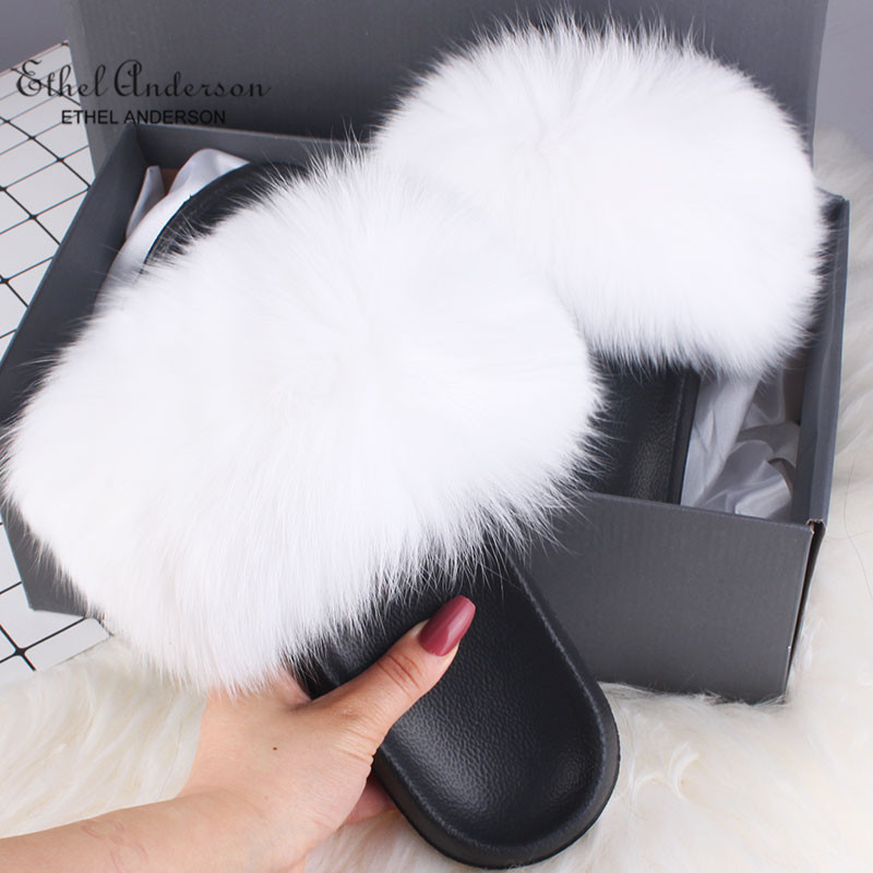 Ethel Anderson Real Fur Slippers Slides Vogue Fox Raccoon Fur Flip Flops Casual Summer Sandals Shoes