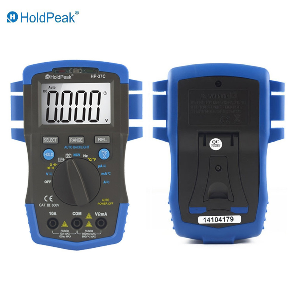 Mini Multimetr digital HoldPeak HP-37C Auto Range True RMS Digital Multimeter Temperature Capacitance Test and Auto Backlight цена