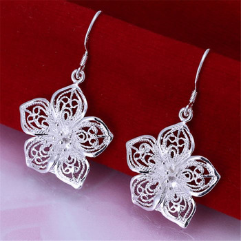 High quality  silver color beautiful flower earrings hot selling fashion jewelry E035 Free shipping Christmas gifts