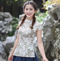 Print Flower Summer Cotton Linen Women S Blouse Chinese Style Lady Short Sleeve Tang Suit Shirt