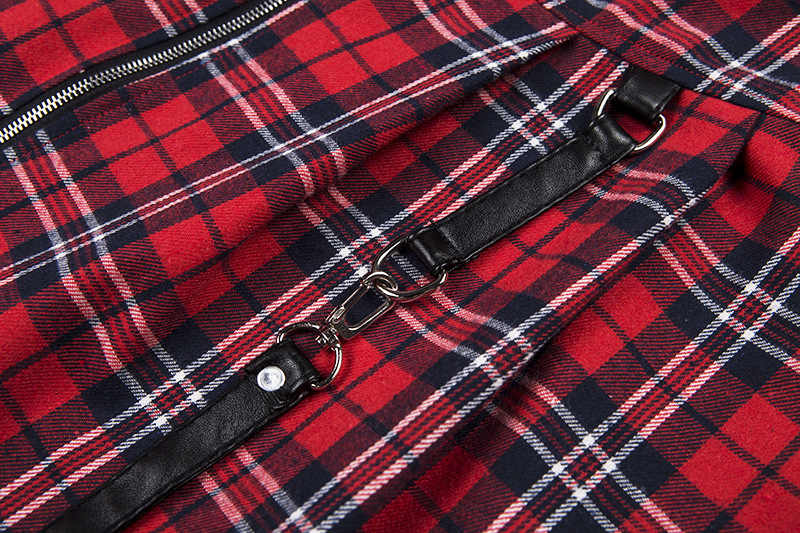 f402b74ae5 ... Harajuku Gothic Rock Punk Vintage Plaid Checked Skirt Women High Waist  cool Girl Short Skirt Patched
