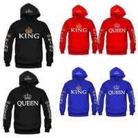 Autumn New Couple Hoody QUEEN KING Crown Printing Blue Men Women Hoodie Fashion Lovers Red Trendy Sweatshirt Casual Hooded