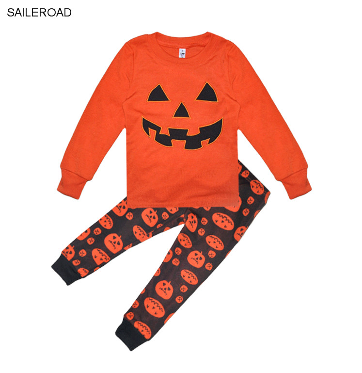 saileroad halloween pumpkin children kids pajamas outfits set baby boys sleepwear kids girls nightwear pyjamas sets 2 7years in pajama sets from mother