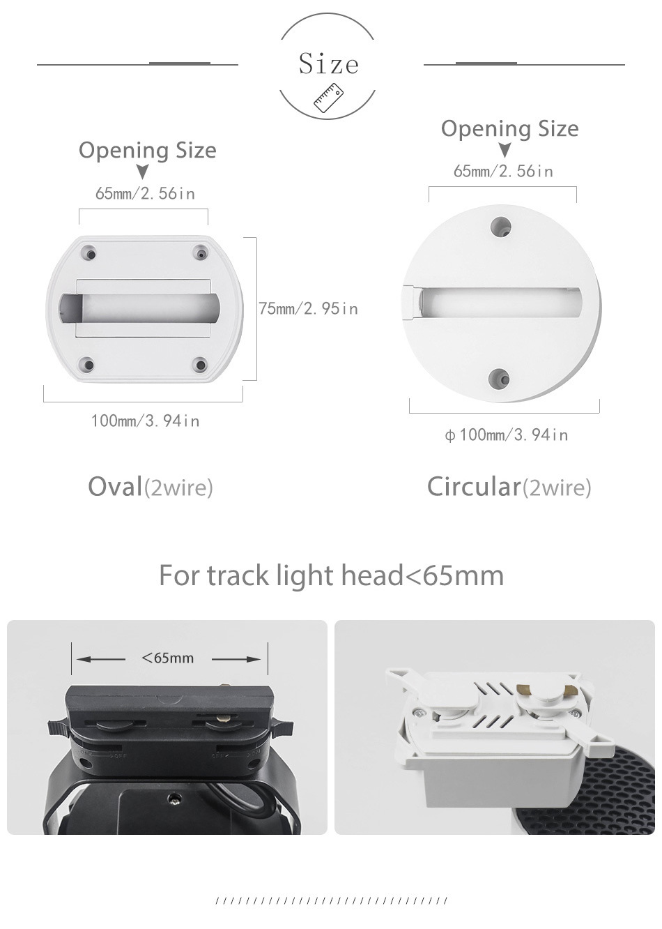 New Track Lights Box Rail Lighting Connector Accessories Track lamp Ceiling Box  2 Wire 3 Wire Fixtures LED Spot light Fitting (11)