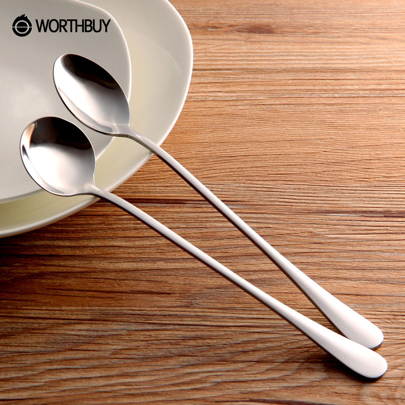 Hot Sale 2 Pcs Long Handled Stainless Steel Coffee Spoons Ice Cream Dessert Tea Spoon Picnic Kitchen Accessories Mixing Spoon