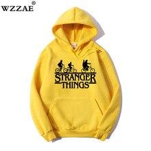 Trendy Faces New Season Stranger Things Hooded Men Women Hoodies Sweatshirts Letter Print Long Sleeve Hip Hop 100% Cotton Hoody
