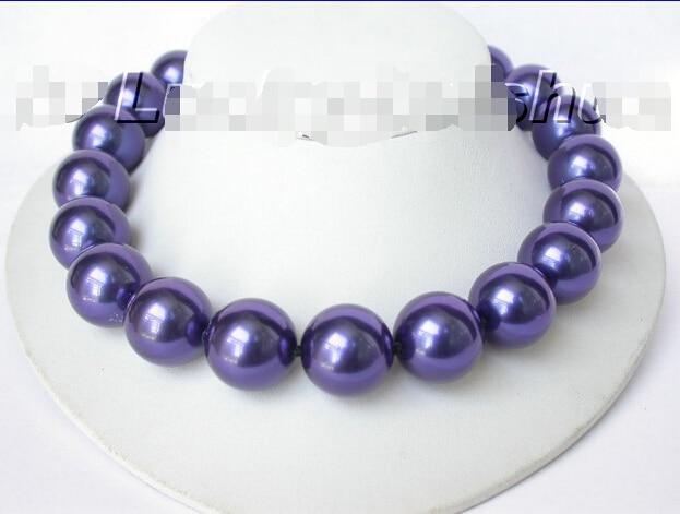 """LIVRAISON GRATUITE >>>@@ 18 """"20mm ronde bleu marine du sud mer shell perle collier @ ^ Noble style Naturel Fine jewe S"""