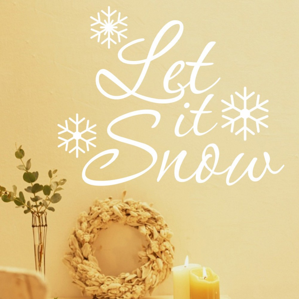 xmas37&% Merry Christmas white/red Let it snow DIY removable wall ...