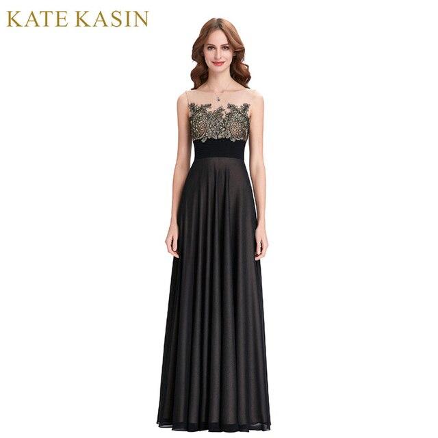7f315eff57a7 Kate Kasin Black Evening Dresses Long Robe de Soiree 2018 Abiye Lace  Applique Dress See Through Mesh Formal Evening Dress Gown