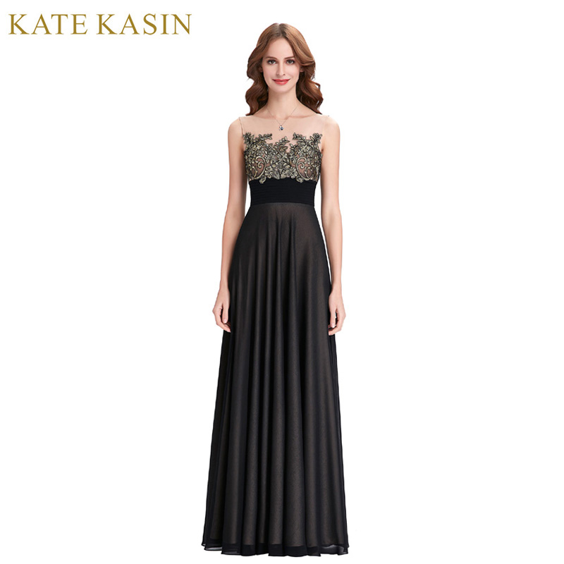 Kate Kasin Black Evening Dresses Long Robe de Soiree 2018 Abiye Lace Applique Dress See Through Mesh Formal Evening Dress Gown