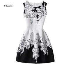 Women Summer New O Neck Sleeveless Dress Print Fashion Casual Vintage Short Dress Women
