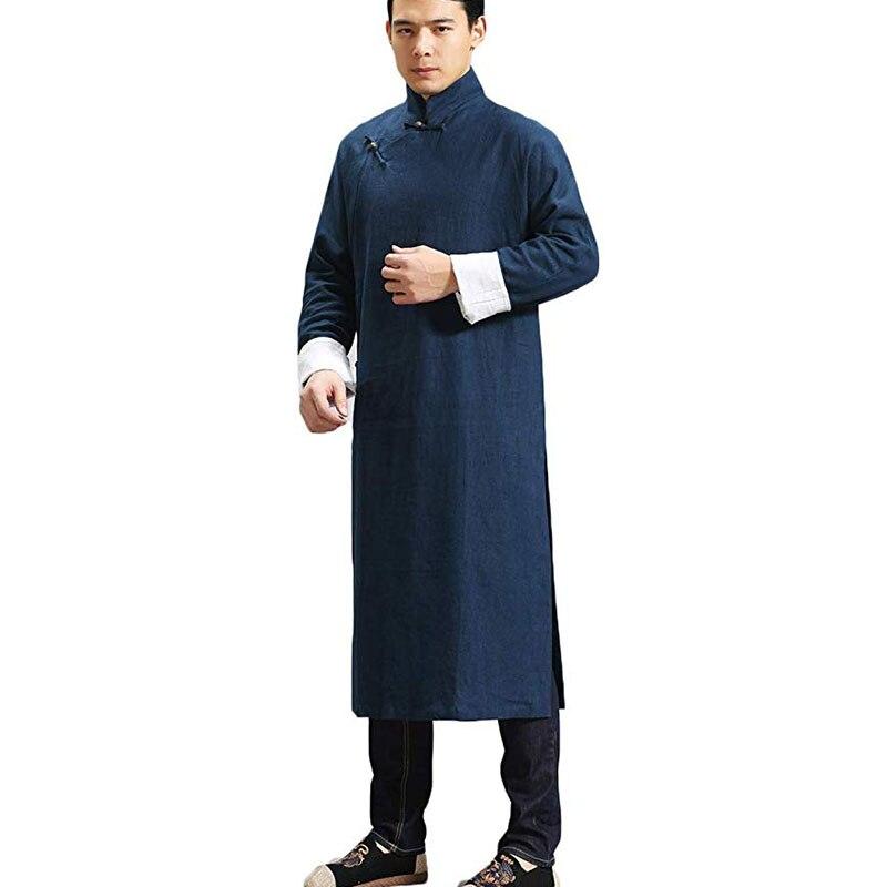 LZJN Camisas De Linho Dos Homens Chineses Robe Étnica Roupa Masculina Roupas de Manga Comprida Camisas de Vestido Do Vintage Blusa Masculina Gomlek MF 6